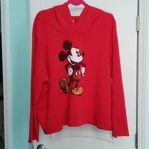 Red Disney brand long sleeve Mickey Mouse hoodie